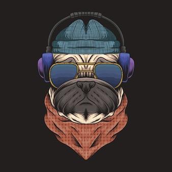 パグ犬のヘッドフォン