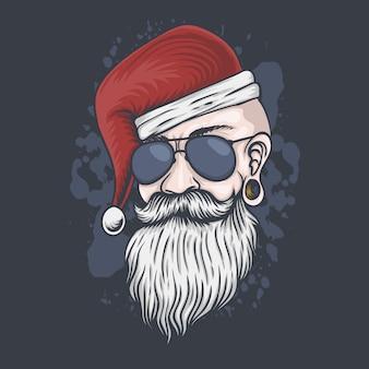 男の頭のクリスマスイラスト