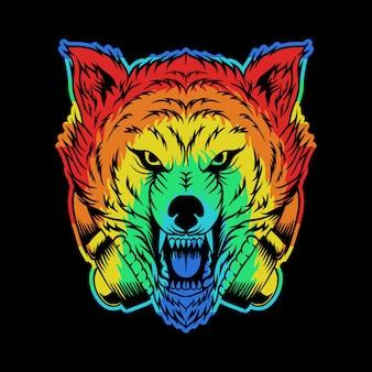 怒っているオオカミヘッドフォンカラフルなイラスト