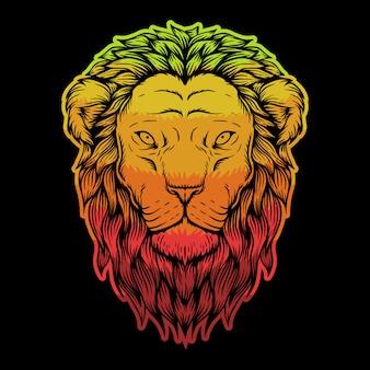 ライオンヘッドのカラフルなイラスト