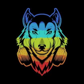 カラフルなオオカミのヘッドフォン