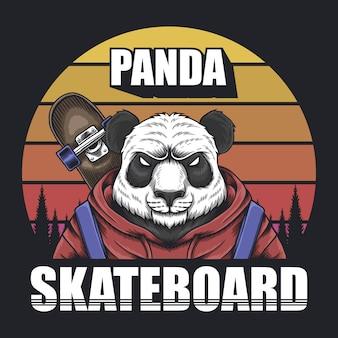 Панда скейтборд ретро