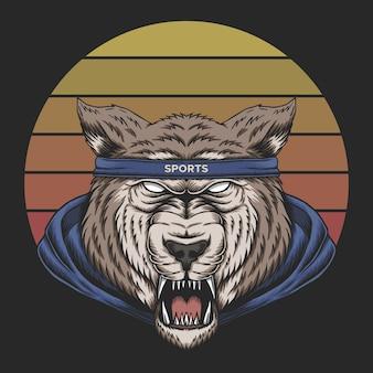 Волк спорт закат ретро