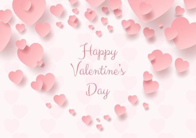 バレンタインのピンクのハートの紙アート
