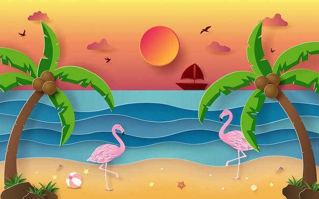 Летний сезон, фламинго на тропическом пляже