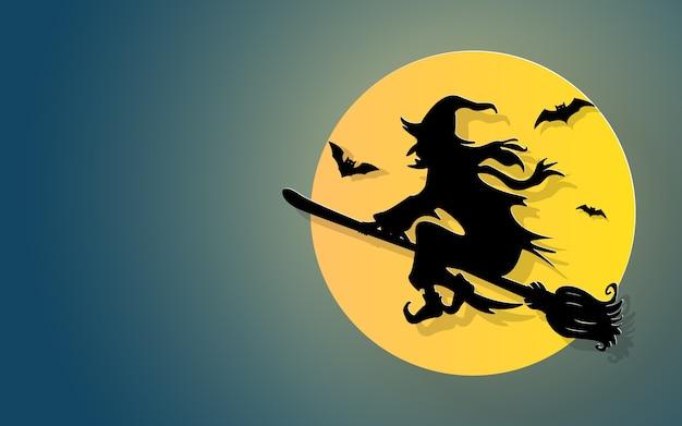 ハロウィーンパーティー、空に飛ぶ魔女のペーパーカット