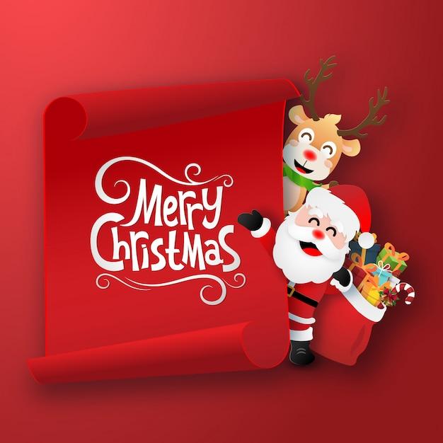 Дед мороз и олень с красным чистым листом бумаги