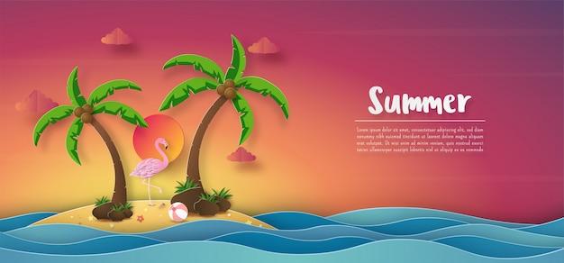 Тропический летний баннер фон, закат красочный небо