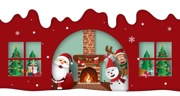 サンタクロースと友達とクリスマスパーティー