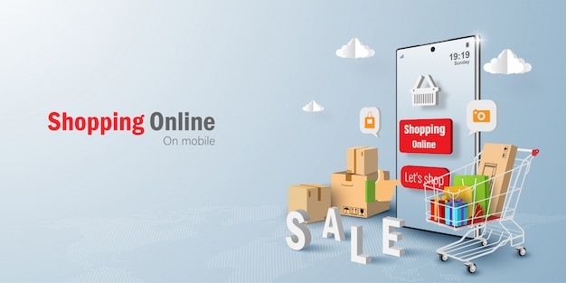 デジタルマーケティングの概念モバイルアプリケーションでのオンラインショッピング