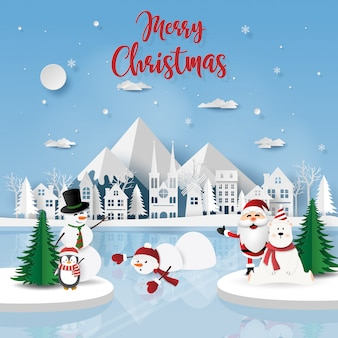 氷の床にサンタクロースとクリスマスパーティー
