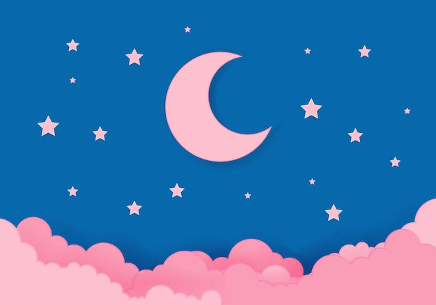 真夜中のピンクの月と星