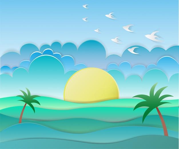 海の背景に鳥、紙アートスタイルの太陽
