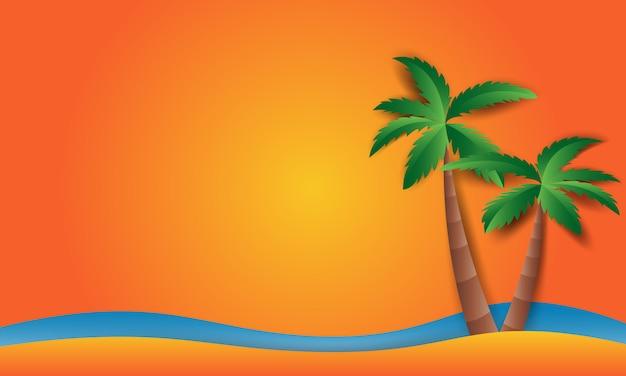 Пляжный пейзаж с пляжным солнцем