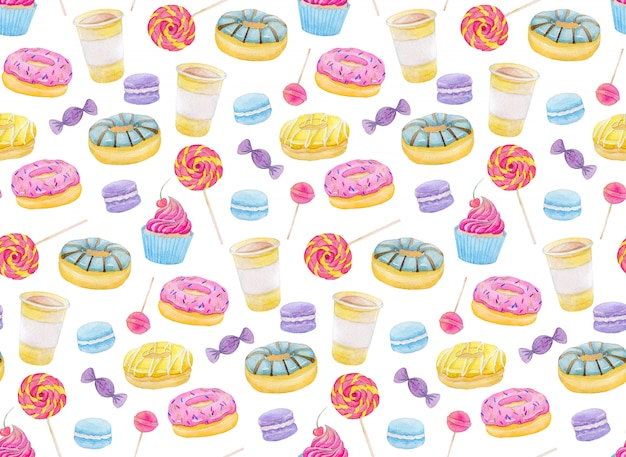 ドーナツ、キャンディー、キャップケーキ、ロリポップ、マカロン、コーヒー入りの水彩菓子セット