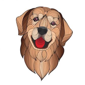 カラフルな様式化されたゴールデンレトリーバー犬の頭