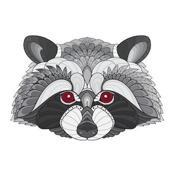 Дзен клубок стилизованная голова енота