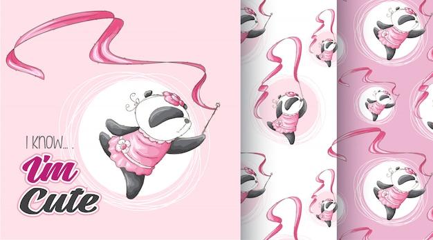 かわいいパンダパターンベクトルを設定
