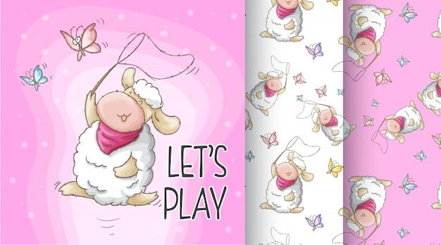 Симпатичные овцы шаблон иллюстрации