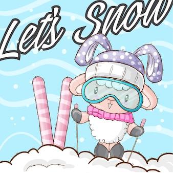 Милое овечье животное на снегу