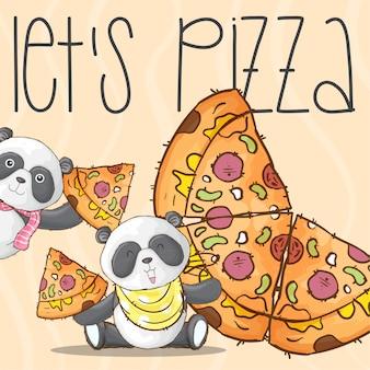 かわいいパンダ動物とピザのイラスト - ベクトル