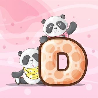 かわいいパンダ動物文字アルファベットベクトル