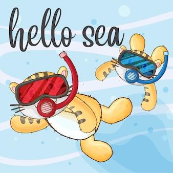 カップルの虎がダイビング手描きの動物 - ベクトル