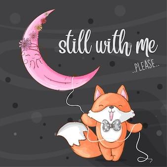 Маленькая лиса и луна рисованной животное