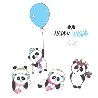 かわいいパンダ漫画を描く