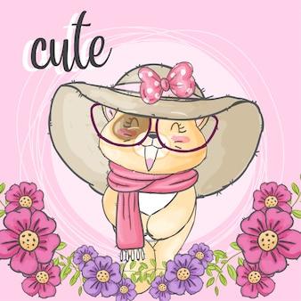 花のフレームでかわいい猫手描きの動物