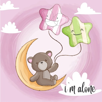 月の赤ちゃんクマ手描きの動物