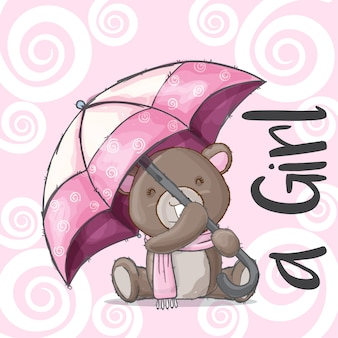 Милый ребенок медведь рисованной животное