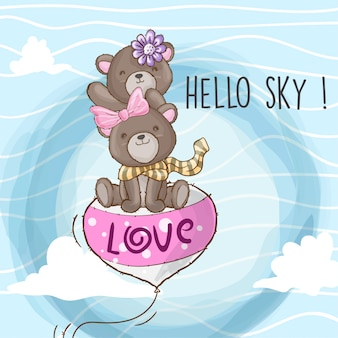 Милый медведь летит на воздушном шаре рисованной животное