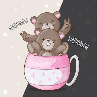 甘いカップルクマ手描きの動物ベクトル