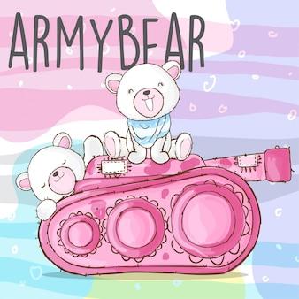 Симпатичный армейский медведь рисованной животных вектор