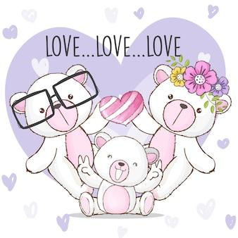 Счастливая семья медведь рисованной животных вектор