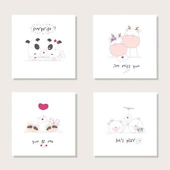 コレクションセット動物漫画動物。犬、キリン、ナマケモノ。クマの手描きイラスト