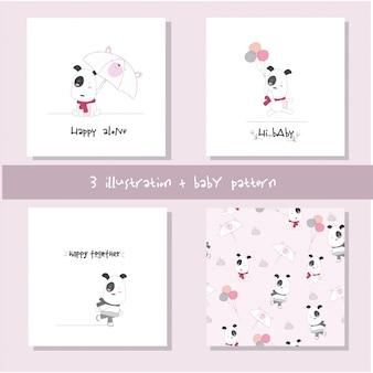 かわいい赤ちゃん犬漫画セットのシームレスパターン