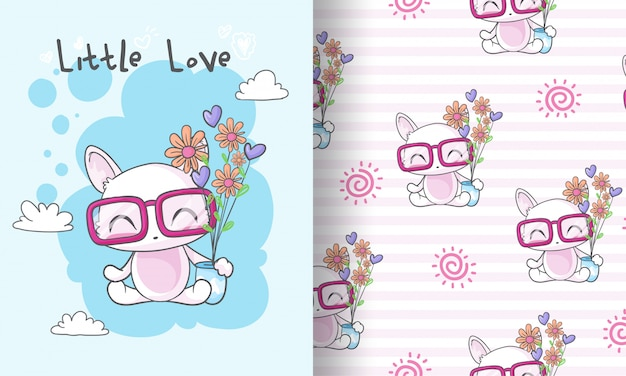 子供のための花のシームレスなパターン図とかわいい子猫