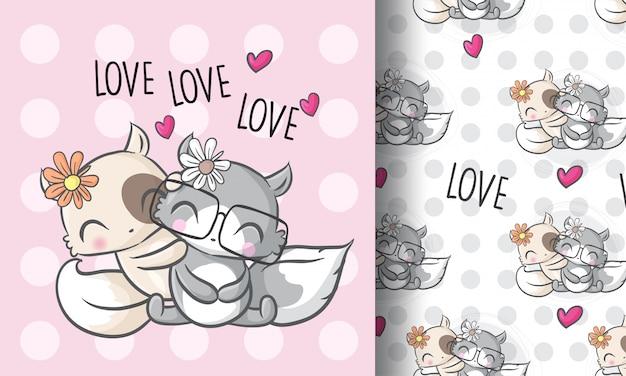 かわいい愛カップル子猫のシームレスなパターン図幼稚