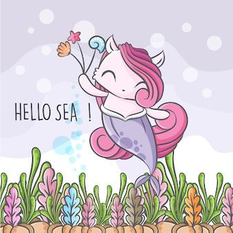 Милая маленькая русалка бесшовные иллюстрации детски