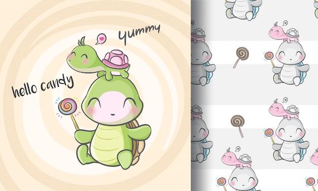 Милая маленькая черепаха бесшовные модели иллюстрации по-детски