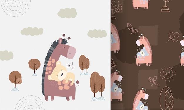 赤ちゃんクマのシームレスなパターンを持つかわいいキリン