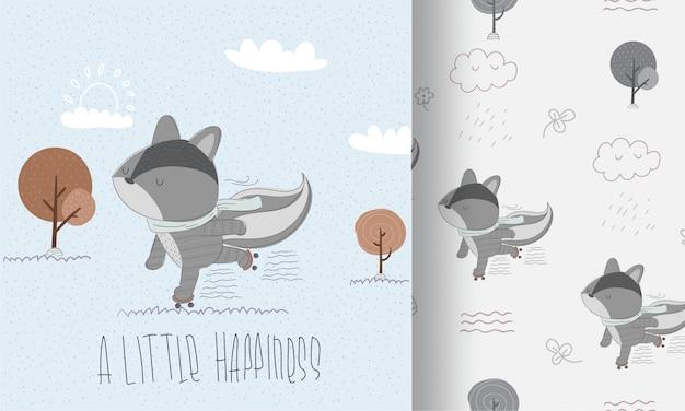 ローラースケートのシームレスなパターンで幸せなアライグマ
