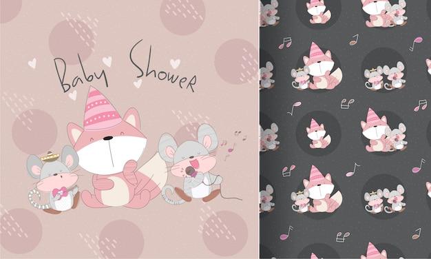 キツネのシームレスなパターンでかわいい幸せな小さなマウス歌