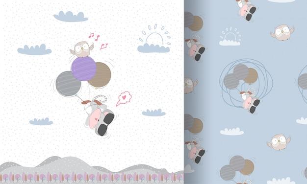 Милая маленькая мышь летит бесшовные модели