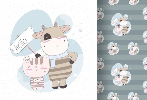 赤ちゃん子猫のシームレスなパターンを持つかわいい牛