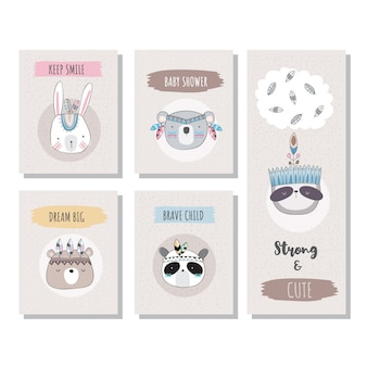 かわいい動物のグリーティングカード