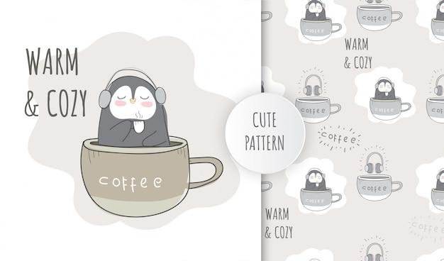カップコーヒーのフラットパターンかわいい動物ペンギン