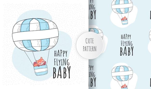 平らなシームレスパターンかわいい赤ちゃん赤いクマが飛んで